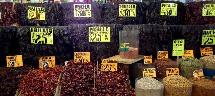canastas con chiles mexicanos y su precio