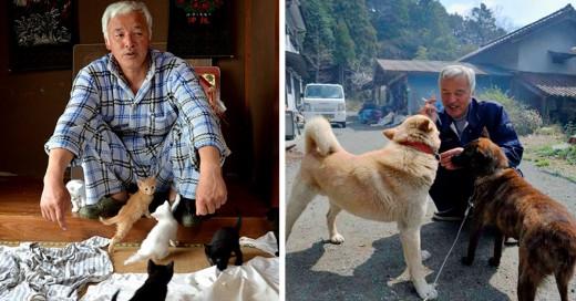 hombre que se expone a la radiacion para darle de comer a animales abandonados