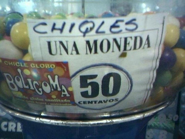 cartel mal escrito de chicles
