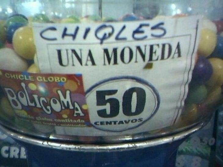 cartel mal escrito de chicles