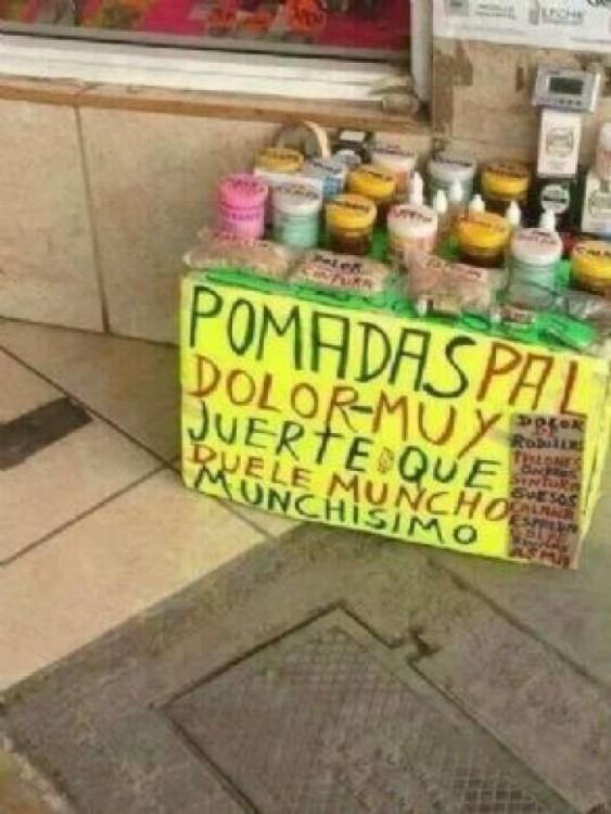 cartel mal escrito pomadas pal dolor