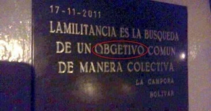 cartel mal escrito obgetivo