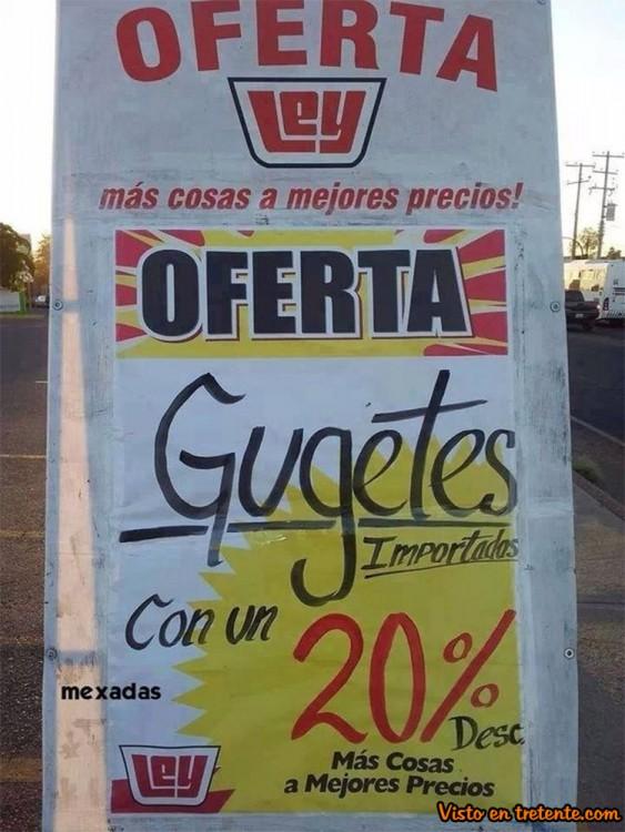 cartel mal escrito de supermercado