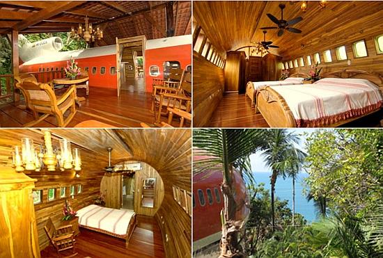recamaras de hotel en forma de avión en medio de la selva de Costa Rica