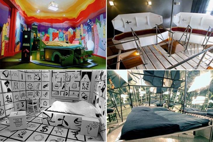 habitaciones de hotel raras con distintas decoraciones