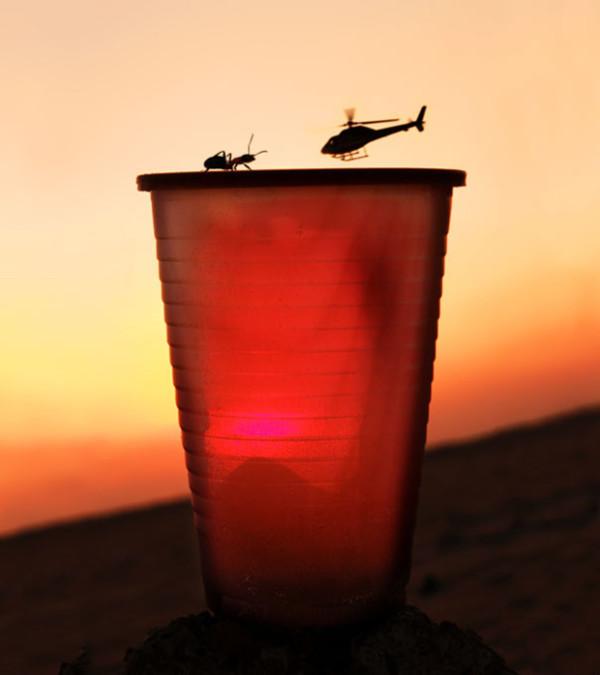 Hormiga sobre un vaso rojo en contraste con el atardecer y un helicóptero que simula tener el tamaño de la hormiga