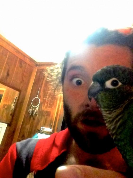 Imagen de un hombre con un perico en la mano y sobre su cara parece ser que tiene el ojo derecho de perico
