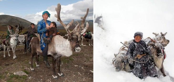 familia mongol con sus renos