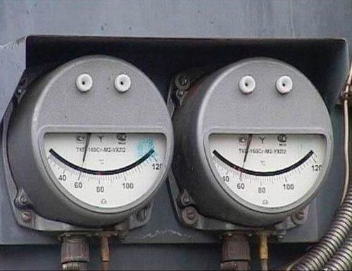 medidores de luz simulando una cara sonriente