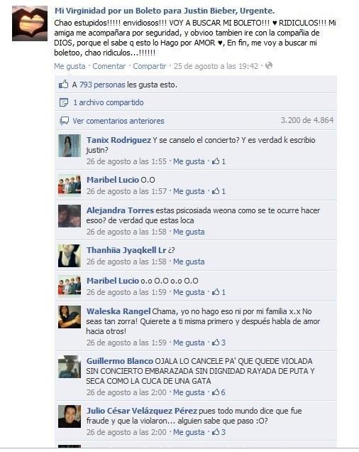 Captura de pantalla de una tontería publica en facebook acerca de un concierto de justin bibier