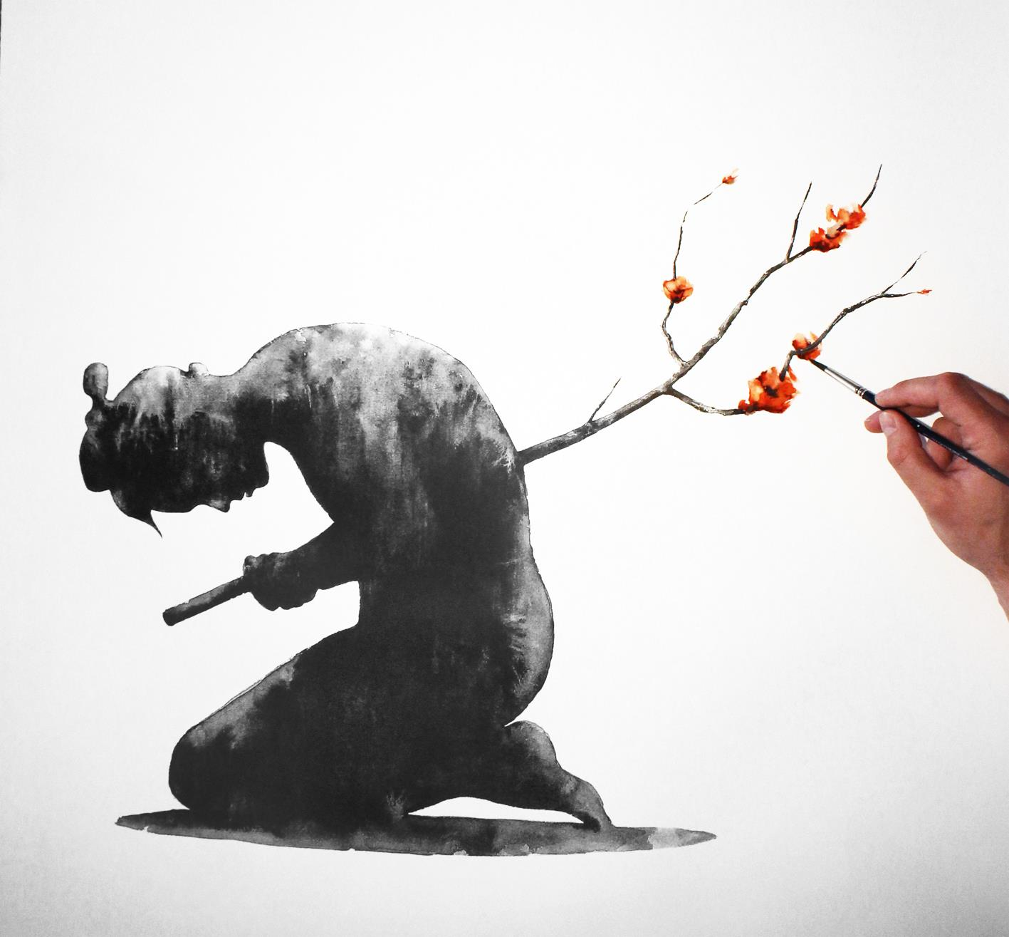 hombre enterrado en una rama de árbol