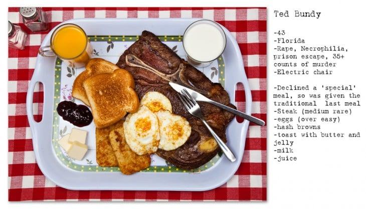 bistec y huevos, acompañados con tostadas, leche y jugo