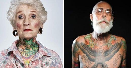 personas tercera edad contestan pregunta de como se veran tatuados