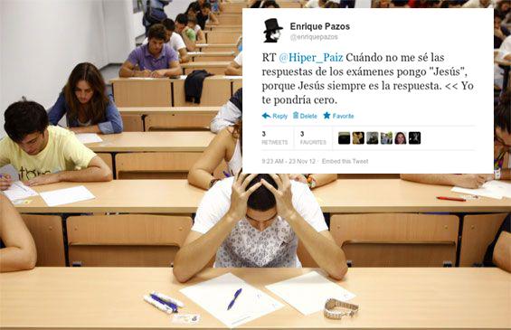 tuit sobre la respuesta de un examen