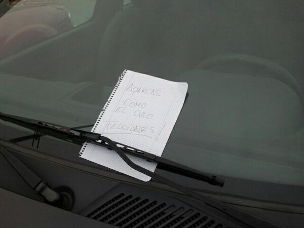 felicidades por estacionarte mal