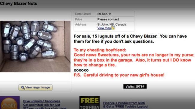 mujer vende tuercas de llanta de la camioneta del novio infiel