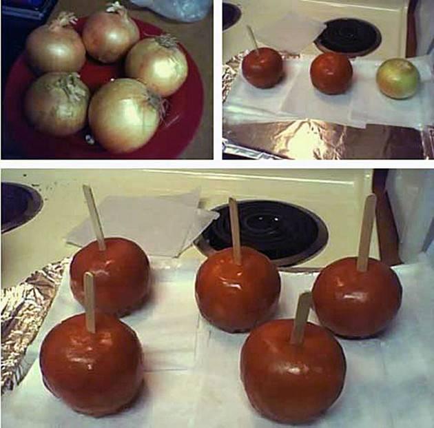 simulación de paletas de caramelo pero con cebollas