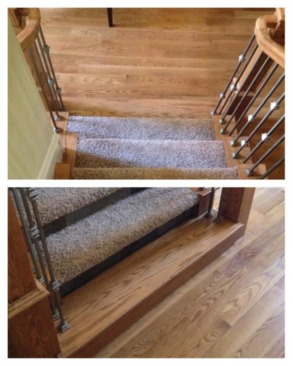 escalera tapizada de forma incompleta falto un escalon de madera por cubrir