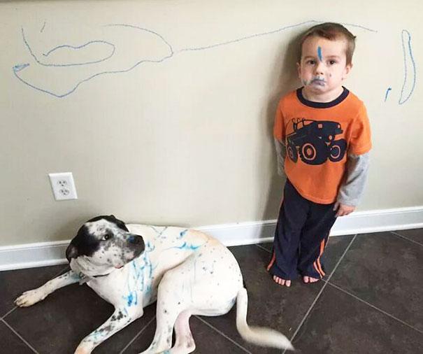 niño regañado pinta a su perro