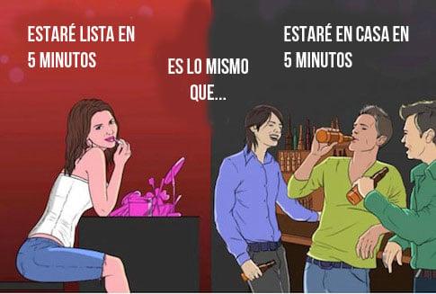 memes sobre los 5 minutos segun hombres y mujeres