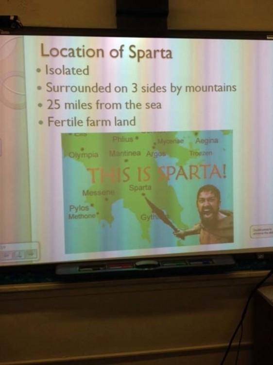 power point creativo en alusión a esparta en los 300