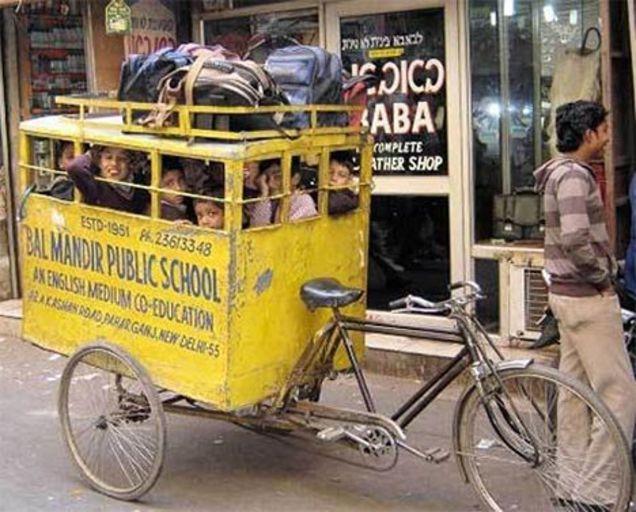 transporte de la primaria en nueva delhi es una bicicleta