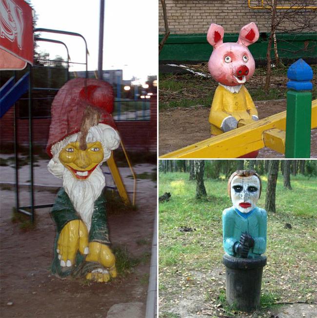 muñecos de madera con rostros escolofriantes