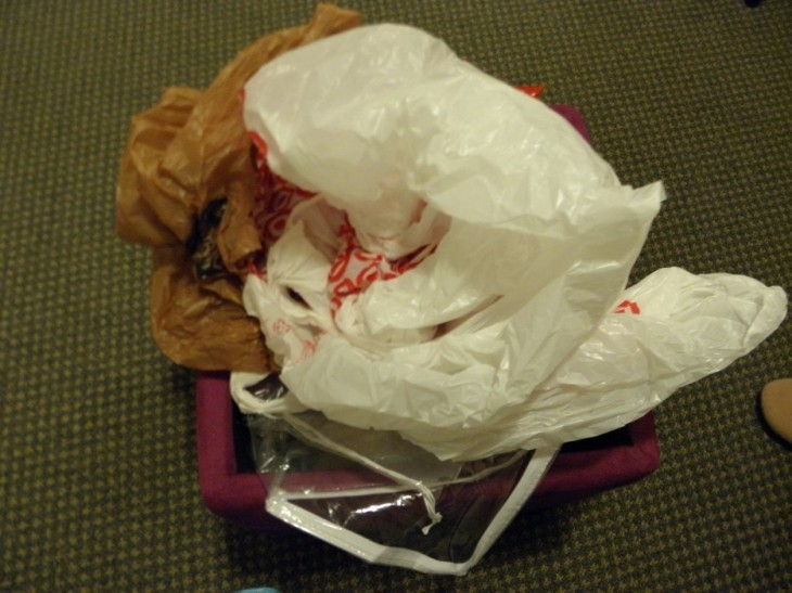 bolsas de platico en la cartera