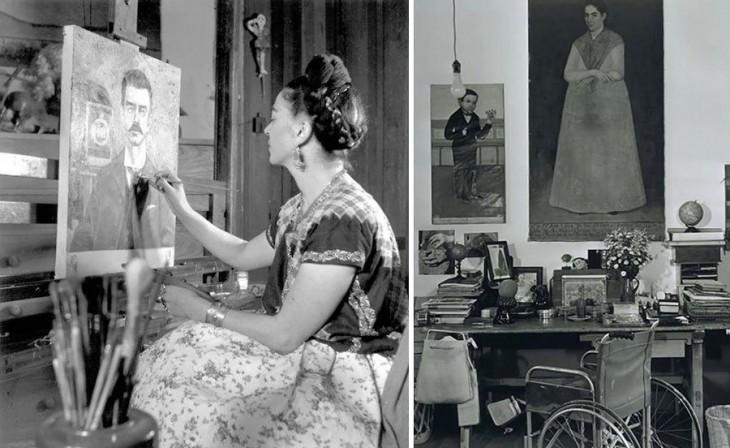 Frida Kahlo en su estudio