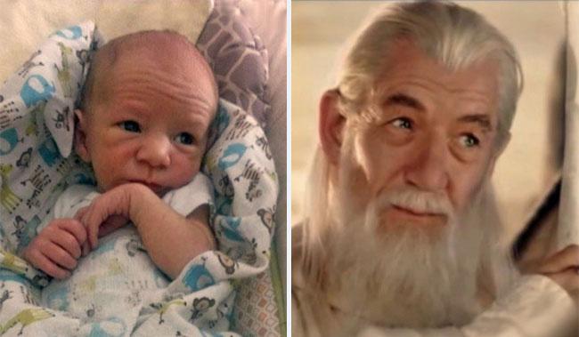 Bebé parecido a Sir Ian McKellen