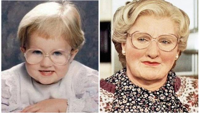 Bebé parecida al personaje Mrs. Doubtfire