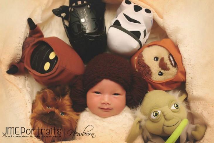 bebé  disfrazada de lei de la pelicula  star war