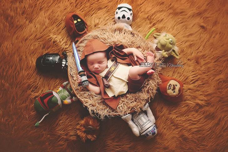 bebé disfrazado de skywalker