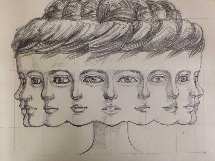 Dibujo de las cabezas de la escultura