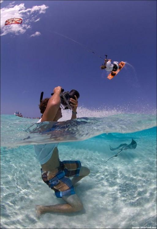 Fotógrafo bajo el mar expuesto a una mantaraya