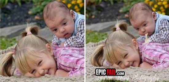 Bebé vomitando sobre su hermana en la foto