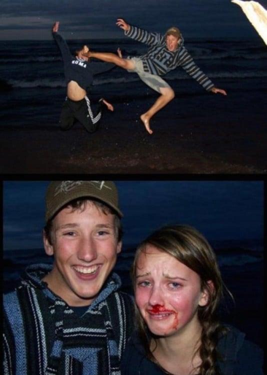Él le rompe la nariz a ella en una foto