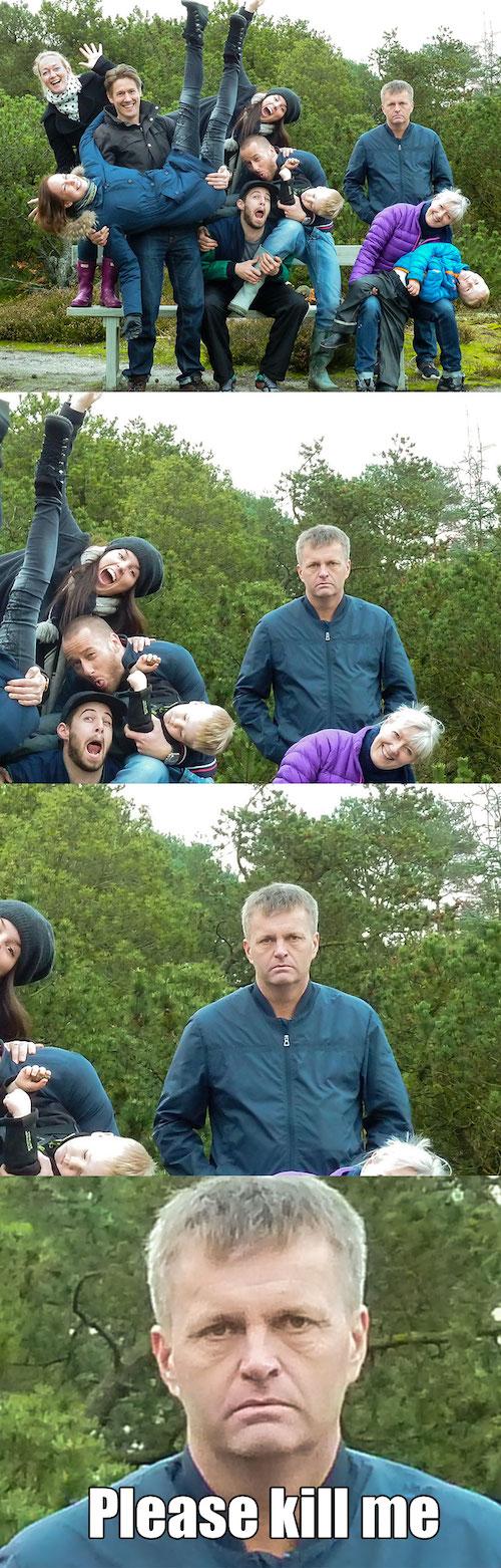 Papá enojado en foto familiar graciosa