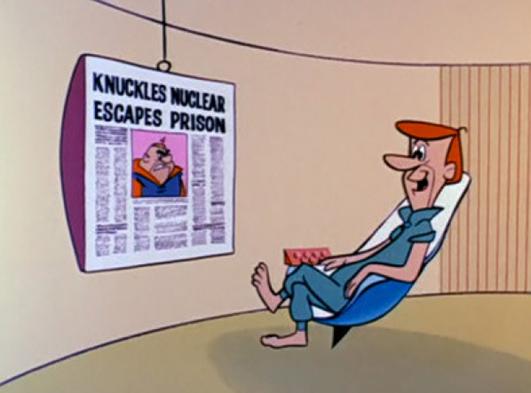 Super sónico leyendo el periódico en una televisión