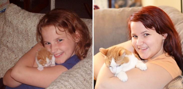 Antes y después de una chica y su gato