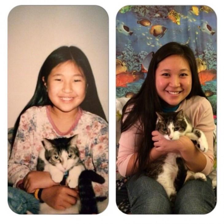 Antes y después de una chica con su gato