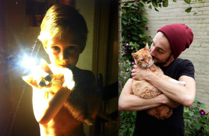Antes y después de un chico con su gato