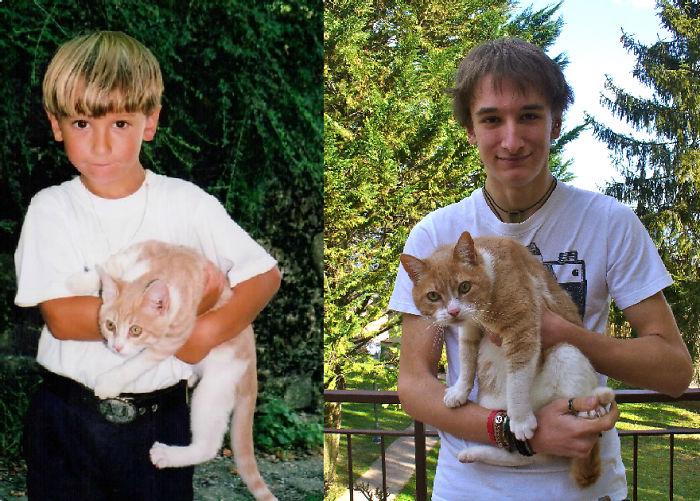 Antes y después un chico con su gato