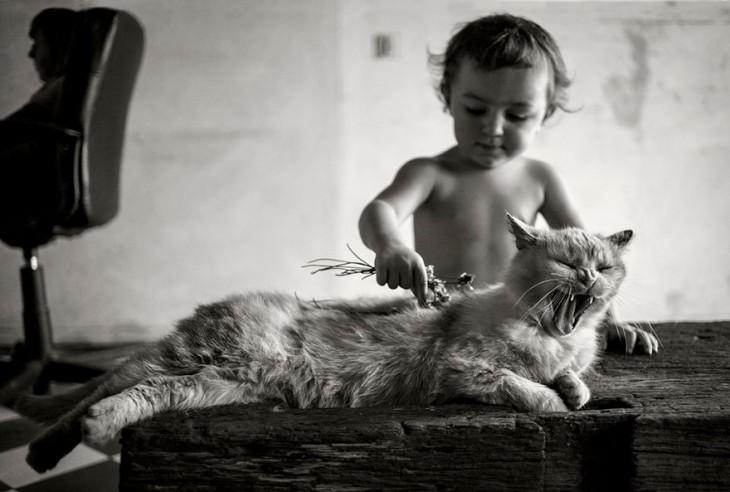 Niño con un gato