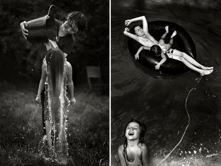 Niñas jugando con agua