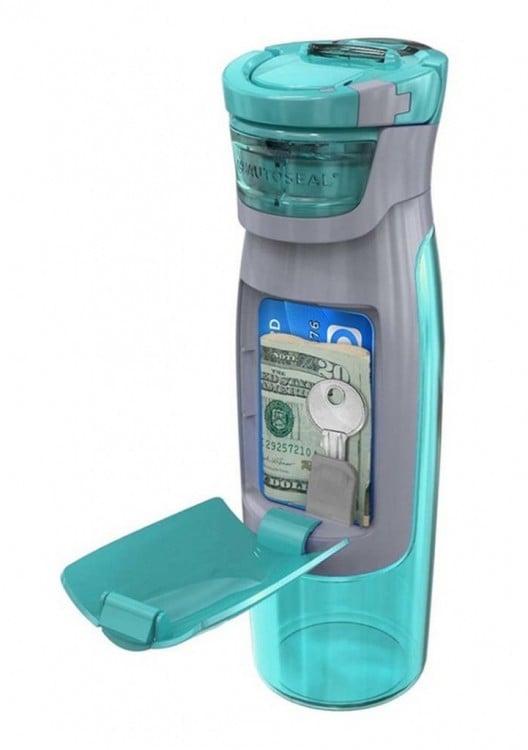 Botella de agua con compartimento para guardar dinero