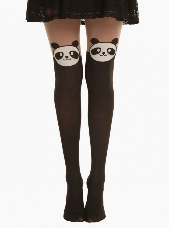 Medias con diseño de oso panda
