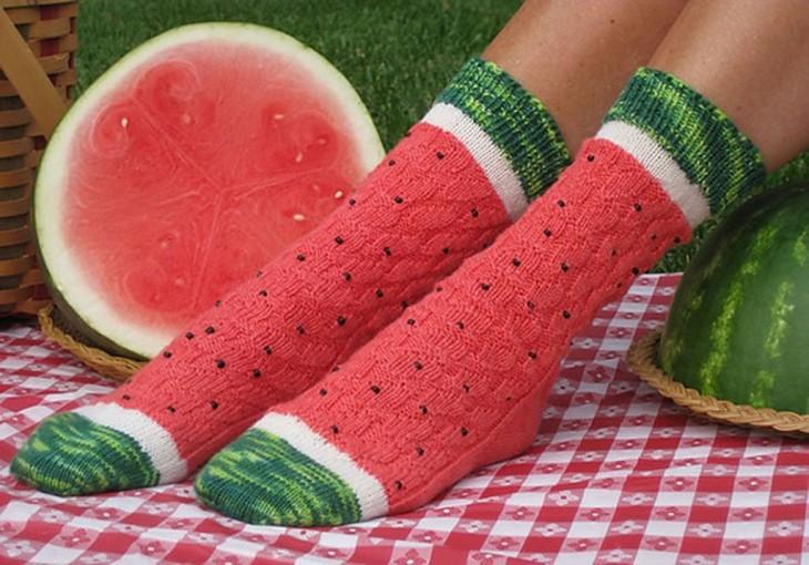 Calcetines con diseño de rebanada de sandía