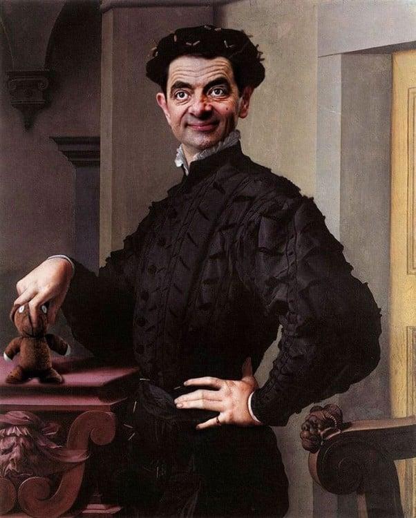 Retrato Agnolo Bronzino con la cara de Mr. Bean