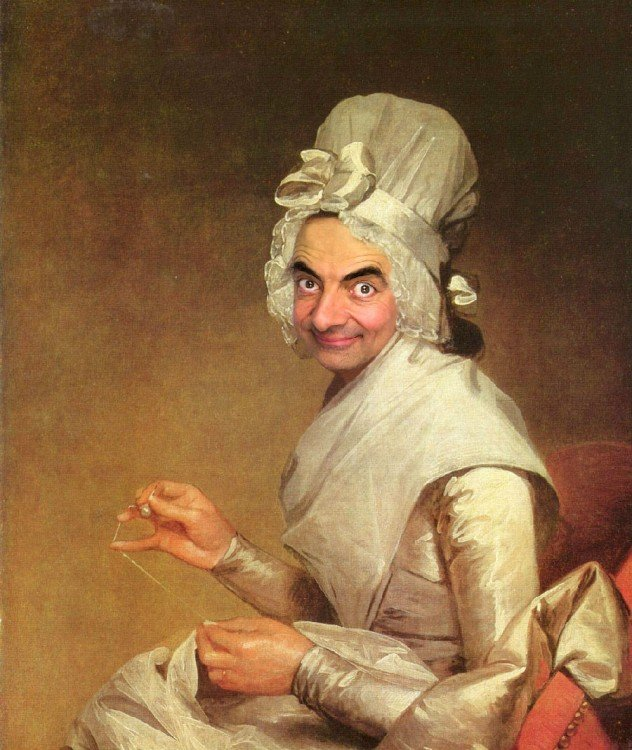 Retrato de Catherine Brass con la cara de Mr. Bean